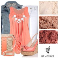 Coral Fresh Younique inspired outfits.  Order online your mineral pigments today at dreamlashesbyshelby.com