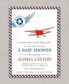 Precious Cargo Vintage Airplane Baby Shower Invitation. $15.00, via Etsy.