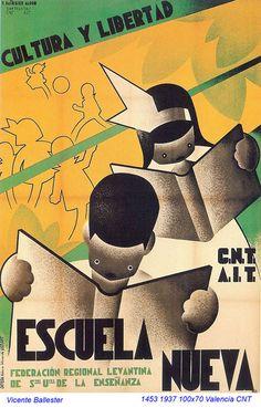 Escuela nueva, by Vicente Marco Ballester, ca Republican poster Spanish Civil War. Ww2 Posters, Political Posters, Art Deco Posters, Vintage Posters, Vintage Ads, Spanish War, Spanish Posters, Civil War Art, Propaganda Art