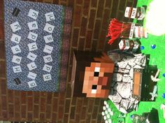 Minecraft party centerpiece and banner