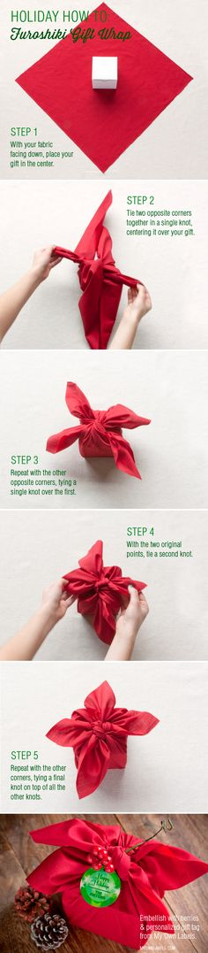 Holiday How-To: Furoshiki Gift Wrap ~ Says: Please allow me to introduce the ancient Japanese tradition, furoshiki. Imagine origami, but simpler and more useful. Furoshiki wraps can be used to easily and elegantly wrap holiday and birthday gifts, and offerings for party hosts.