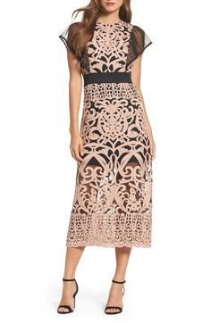 Free shipping and returns on Foxiedox Rosabel Embroidered Midi Sheath Dress at Nordstrom.com. Crinkly Swiss-dot wings and a wavy waistband create eye-catching contrast atop the elaborate, romantic design of a flattering midi-length sheath.