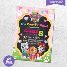 Paw Patrol Birthday Party Printables (Invitation) for Girls