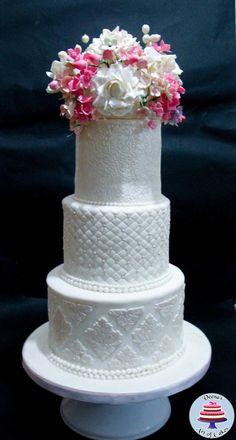 Damask White Floral Wedding Cake  - Cake by Veenas Art of Cakes