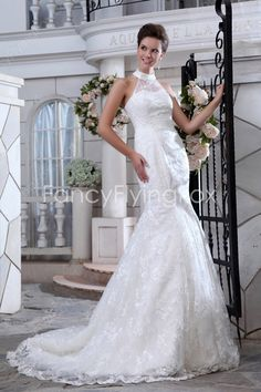 fancyflyingfox.com Offers High Quality Fairytale Halter Neckline High Collar Trumpet Mermaid Lace Wedding Gowns ,Priced At Only US$235.00 (Free Shipping)