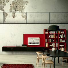 'Cherry' wall mounted TV Unit with library by Morassutti : TV- und Mediamöbel von My Italian Living