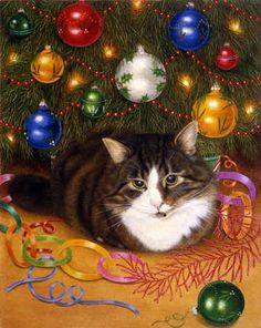 """Under the Tree"" Has this kitty been decorating or un-decorating? ;)"