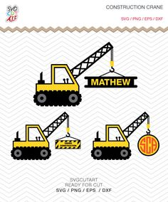 Construction Crane Monogram Tractor Kid SVG DXF PNG eps digger Cricut Design, Silhouette studio, Sure Cuts Lot, vinyl love instant Download by SvgCutArt on Etsy