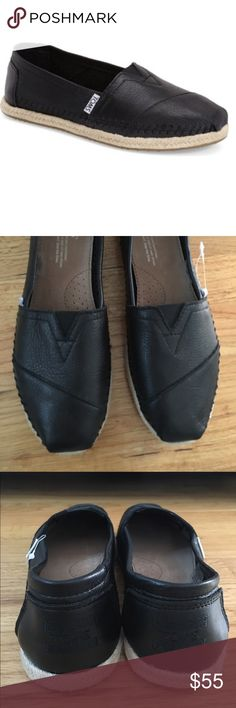 Black Leather Toms BRAND NEW, NEVER WORN black leather toms RETAIL PRICE: $98 TOMS Shoes Flats & Loafers