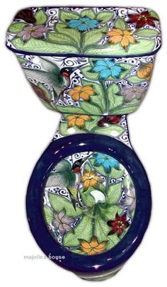 mexican toilet You are in the right place about Spanish style bathrooms mediterranean houses Here we Spanish Style Bathrooms, Spanish Style Homes, Toilet Art, Toilet Bowl, Talavera Pottery, Bathroom Toilets, Bathroom Accessories Sets, White Decor, Decoration