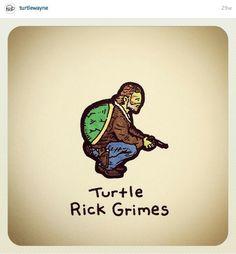 Rick grimes Kawaii Turtle, Rick Grimes, Short Stories, Funny Animals, Memes, Drawings, Cute, Paintings, Board