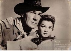 SHOOT-OUT AT MEDICINE BEND (1957) - Randolph Scott & Angie Dickinson - Warner Bros. - Publicity Still.