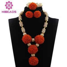 Orange Seed Beaded Flower Pendant African Beads Jewelry Sets Bold Statement Necklace Jewelry Set QW1079