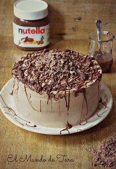 My Sweet World: Nutella Cake Nutella Brownies, Nutella Cake, Sweet Recipes, Cake Recipes, Dessert Recipes, Desserts, Party Recipes, Food Cakes, Cupcake Cakes
