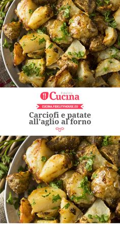 Carciofi e patate all'aglio al forno Vegetable Recipes, Vegetarian Recipes, Chicken Recipes, Cooking Recipes, Healthy Recipes, Kenwood Cooking, Veggie Side Dishes, Aglio, Italian Recipes