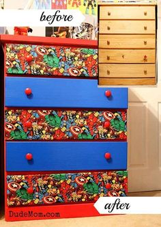 DIY an old dresser into a superhero-themed one using Marvel Comics fabric. Could be used for other themes too!