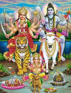 Handicraft Store Shiva with Durga and Ganesha in Himalaya, A Poster Painting with Frame for Hindu Religious Worship Purpose Shiva Parvati Images, Mahakal Shiva, Shiva Art, Krishna Art, Hindu Art, Arte Ganesha, Lord Ganesha, Lord Shiva Pics, Lord Shiva Family