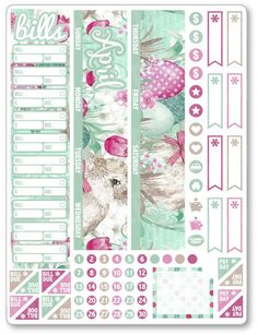 "One 6.5"" x 8.5"" sheet of planner stickers cut and ready for use in your planner, calendar, or scrapbook! Please see the FAQ tab for information on sticker material and pen use."