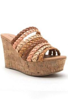 9a6d1a98a92 Tan Ariel Braided Strap Wedge Sandals