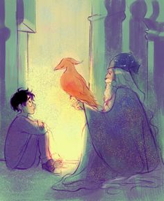 harry, dumbledore, and fawkes by bevsi