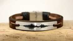 Sound Wave Bracelet, Mens Bracelet, Leather Bracelet, Personalized  Womens Bracelet, Aluminum Plate, Customized,Voice Recording