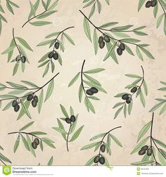Olive seamless pattern. Floral nature food ingredient old-fashioned wallpaper