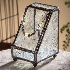 J Devlin Clear Vintage Stained Glass Jewelry/Keepsake/Decorative Box - Front Open 2x2