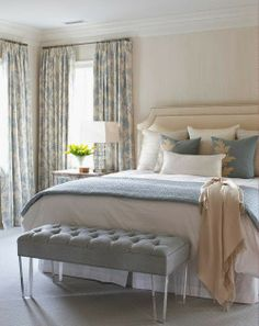 Gorgeous Guest Rooms; peach & light blues/mint, gray, white