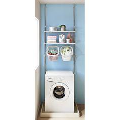 洗濯機パンに収まる段差対応ランドリーラック棚2段・バスケット2個