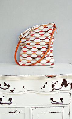 Modern Geometric Tote Bag - Choose Your Leather Strap Length -  Messenger Bag -  Foldover Hobo Bag Hobo Purse Cross Body Purse . (no4)