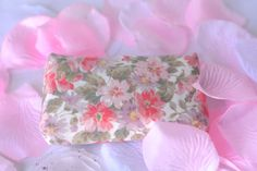Kleenex Tissue Holder Handmade Pink Pocket Tissue holder.  Lovely pink and coral floral case.  by WexfordTreasures