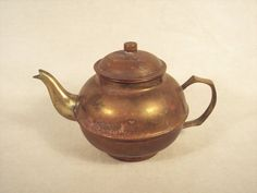 Vintage Small Brass Teapot Patina India Souvenir by SnapshotsThroughTime