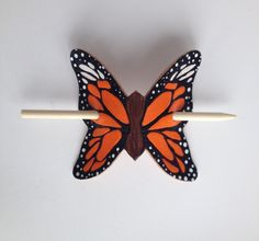 Monarch Butterfly Hair Barrette Leather by AmysLeatherLane on Etsy, $20.00