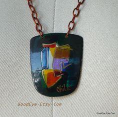 Vintage Copper Pendant Necklace CHILE  Colorful Enamel by GoodEye, $37.00