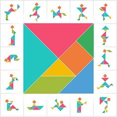 Set of cards for kids board game. Silhouettes of men, women and children made of seven pieces - geometric shapes: triangles, square, parallelogram. Math Games, Toddler Activities, Activities For Kids, Crafts For Kids, Tangram Puzzles, Board Games For Kids, Toddler Learning, Pattern Blocks, Kids Cards