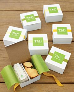 Tea & Cookies packaging In this image, I looked at the use of paper/cardboard packaging. I think this similar type of packaging would suit the brand of Tryst Tearooms, as it feels elegant and reliable. It also feels like packaging for gifts. Cookie Wedding Favors, Cookie Favors, Party Favors, Tea Favors, Shower Favors, Wedding Gifts, Party Gifts, Wedding Ideas, Wedding Reception