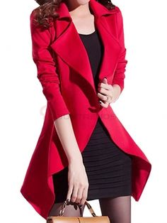 Graceful Two Piece Turn-Down Collar Full Sleeve One Button Flouncing Irregular Hem Trench Coat With A Tank Shirt on buytrends.com