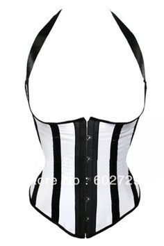 Sexy White with black stripe halter boned lace up satin underbust corset bustier steel busk front dropshipping S-2XL $16.24