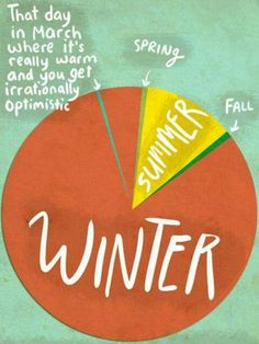True Midwest Seasons 🌷☀️☃️🍂 winter springfever march spring summer fall season weather mn warm piechart home minnesota sd southdakota true funny springbreak pie chart fmspad fmsphotoaday fms_home lol funny Haha, Def Not, All I Ever Wanted, So True, Back Home, Funny Photos, That Way, True Stories, Just In Case