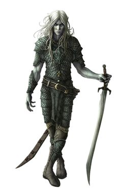 Male Dark Elf Fighter - Pathfinder PFRPG DND D&D 3.5 5th ed d20 fantasy