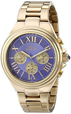 Women's Wrist Watches - Invicta Womens 18748 Angel Analog Display Swiss Quartz Gold Watch ** To view further for this item, visit the image link.