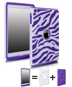 COMBO! Jersey Bling (TM) Zebra Hybrid 2 Piece Fusion, Protector, Defender Ipad Mini Case Cover with 1 Stylus Touch pen (White with Purple):Amazon:Cell Phones & Accessories