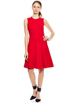 ELIZA J Red Sleeveless Fit-and-Flare Dress