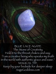 Blue Lace agate is for creativity and peace. Keep by your bedside for more restful sleep! Crystal healing for better living at Sage Goddess. Crystal Healing Stones, Crystal Magic, Crystal Grid, Quartz Crystal, Crystals Minerals, Crystals And Gemstones, Stones And Crystals, Gem Stones, Chakra Crystals