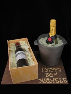 Michele's 50th birthday cake was a combination of a 1966 red wine bottle in a wooden box cake as well as a 1966 champagne bottle in an ice bucket cake. The wine bottle cake is a caramel mud cake with white chocolate ganache and salted caramel sauce. The box and bottle is made from fondant and the shavings are white chocolate. The champagne bucket cake is chocolate mudcake with chocolate ganache and the bucket is modelling chocolate. The bottle is modelled from fondant and the ice blocks are…