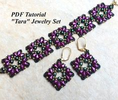 Beads Tutorial, DiamonDuo Pattern, Beading Tutorial, Beadwork Pattern, Gemduo Bead Pattern, Jewelry Pattern, PDF Pattern, Tara Jewelry Set This PDF beading tutorial includes instructions for an elegant beaded jewelry set. You can use the colors I did or you can use the colors of your