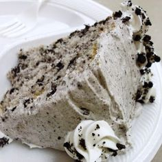 Cookies and Cream Cake  Ingredients:   Cake   1 Box white cake mix, eggs, water and oil as called for on the box    ~OR your favorite white cake recipe, 15 Oreos, crushed, frosting, 1 (8 oz) package cream cheese, softened, 1 (16 oz) box powdered sugar, 1 (8 oz) container Cool whip, room temperature, 15 Oreos, crushed,  ¼ tsp. pure vanilla extract. ~Lu would LOVE this!!~