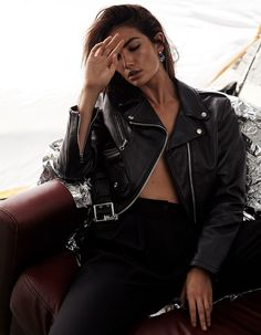 Looking cool, Lily Aldridge poses in leather jacket and slim-fit pants for Tatler Magazine UK January 2017 edition