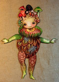 Jointed Woodland Root Babies Paper Doll, via Etsy.