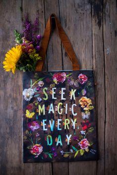 Seek Magic - Handmade Cotton/Linen Tote Bag